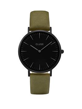 cluse-cluse-la-boheme-black-dial-dial-case-khaki-strap-watch