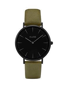 cluse-la-boheme-black-dial-dial-case-khaki-strap-watch