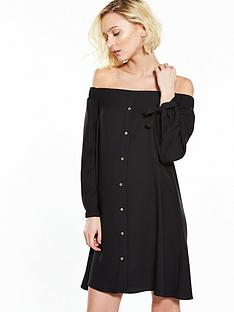 river-island-black-bardot-dress
