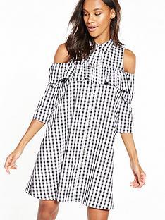 river-island-cold-shoulder-gingham-dress