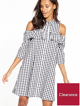 river-island-cold-shoulder-gingham-dress