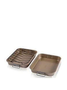 tower-non-stick-gold-roast-and-rack-2-piece-set