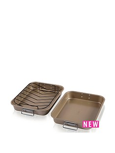 tower-tower-2-piece-non-stick-gold-roast-and-rack