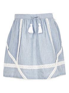 river-island-girls-blue-stripe-lace-trim-skater-skirt