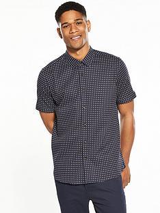 ted-baker-mens-textured-geometric-short-sleeve-shirt-navy