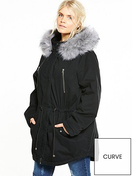 v-by-very-curve-faux-fur-parker-black