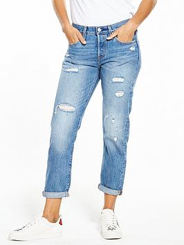 Levis 501 Tapered Distressed Ripped Jean