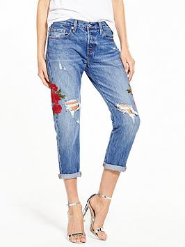 Levis 501 Cropped Tapered Distressed Ripped Jean