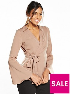 neon-rose-fluted-sleeve-wrap-blouse-nude