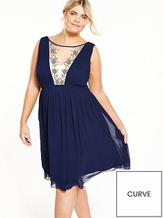 little-mistress-curve-mesh-panel-skater-dress