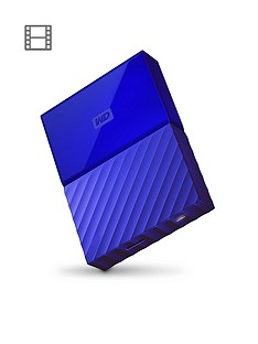 Western Digital My Passport 1TB Portable External Hard Drive - Blue