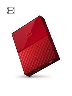 Western Digital My Passport 1TB Portable External Hard Drive - Red