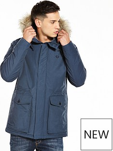 fred-perry-quilted-fur-trim-parka