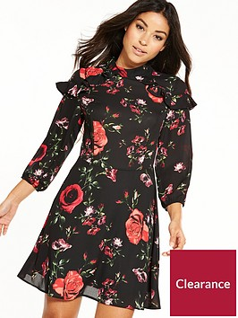 v-by-very-high-neck-rufle-fit-and-flare-printed-dress