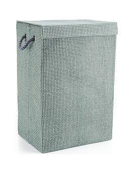 Minky Grey Check Canvas Laundry Hamper