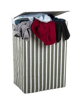 Minky Laundry Hamper/Basket Grey Stripe In Canvas