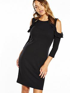 v-by-very-ruffle-cold-shoulder-rib-midi-dress