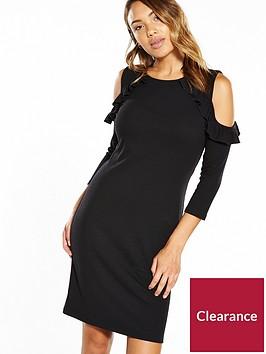 v-by-very-ruffle-cold-shoulder-rib-midi-dress