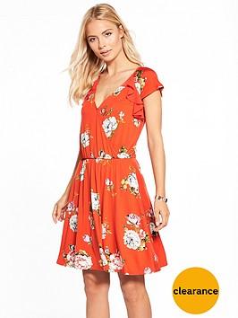 v-by-very-chiffon-ruffle-sleeve-tea-dress