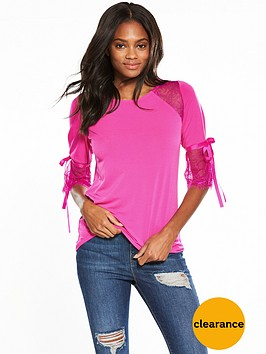 v-by-very-lace-panel-tie-sleeve-top