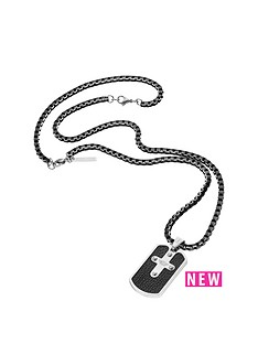 police-police-mens-gun-metal-plate-cross-tag-necklace