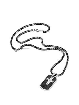 police-police-mens-gun-metal-plate-cross-tag-necklace