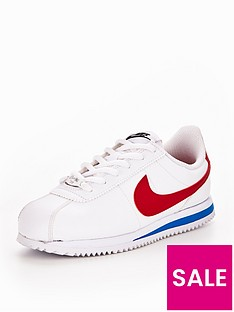 026e530a8c152d Nike Cortez Leather Junior Trainers - White Red Blue
