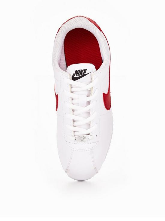 new style c11db b4efe ... Nike Cortez Leather Junior Trainers - White Red Blue. View larger