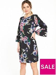 wallis-petite-floral-flute-sleeve-dress