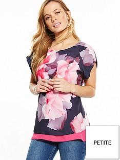 wallis-wallis-petite-pink-floral-top