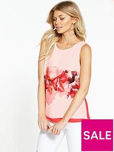wallis-petite-floral-double-layer-top