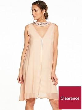 wallis-embellished-neck-over-layer-dress