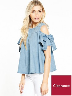 miss-selfridge-bow-detail-denim-top