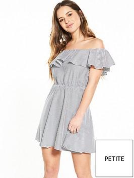 miss-selfridge-petite-stripe-bardot-ruffle-dress