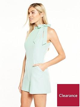 miss-selfridge-halter-tailored-playsuit-green