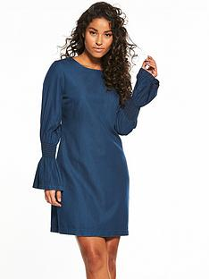 v-by-very-sheering-sleeve-denim-dress