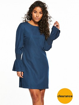 v-by-very-sheering-sleeve-denim-dress