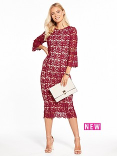 v-by-very-lace-fluted-sleeve-fitted-dress