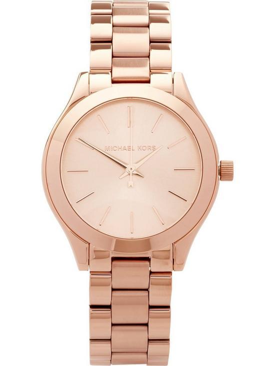 a82249361009 MICHAEL KORS Mini Slim Runway 33mm Stainless Steel Bracelet Watch - Rose  Gold