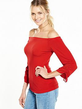 v-by-very-ruched-sleeve-bardot-top