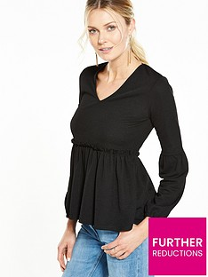 v-by-very-ruched-peplum-crepe-top
