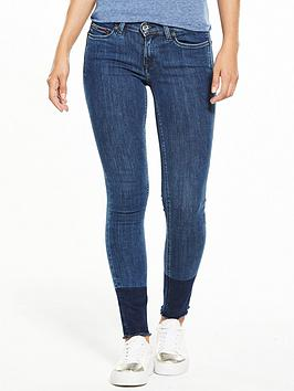 Tommy Jeans Mid Rise Skinny Nora 7/8 Jean - Two Toned Blue Stretch