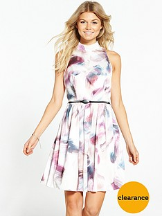 little-mistress-petite-high-neck-skater-dress