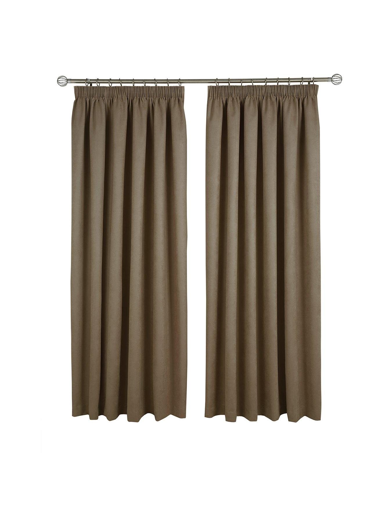 Made To Measure Faux Suede Pleated Curtains U2013 Chocolate