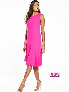 warehouse-ruffle-hem-dress