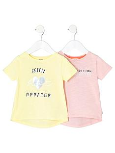 river-island-mini-girls-yellow-print-t-shirt-multipack
