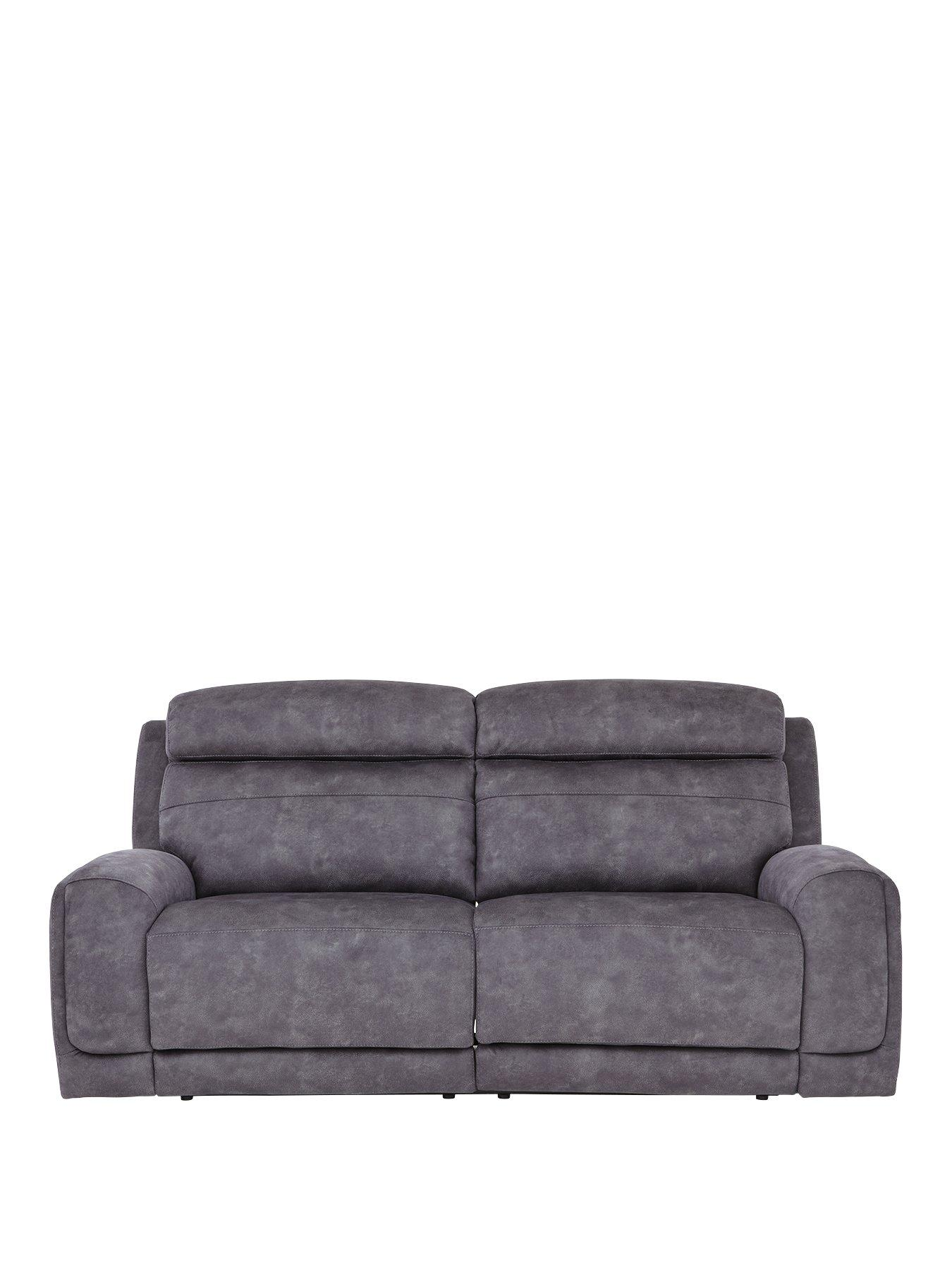 Reclining Sofa Fabric 3 Seater Brown Fabric Reclining Sofa Monroe