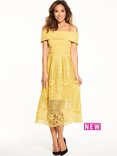 myleene-klass-midi-length-lace-bardot-dress-lemon