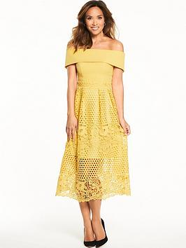 myleene-klass-midi-length-lace-bardot-dress-lemon