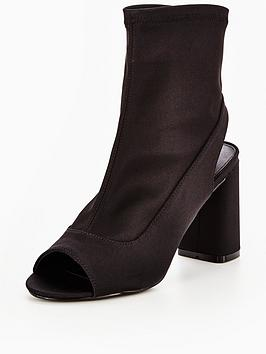 Image of V by Very Glossy Peep Toe Satin Stretch Shoe Boot - Black, Black, Size 6, Women